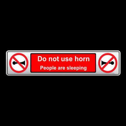 DO NOT USE HORN - Number Plate Shaped Prohibition Sign
