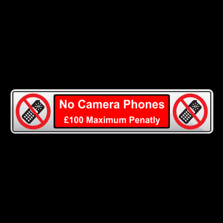 NO CAMERA PHONES - Number Plate Shaped Prohibition Sign