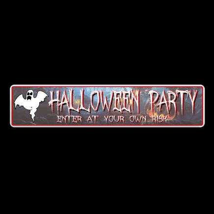 HALLOWEEN PARTY - Number Plate Shaped Seasonal Sign