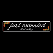 Wedding ''Just Married'' Show Plate Sign - Black