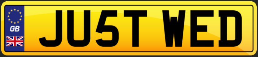 JU5T WED wedding number plate