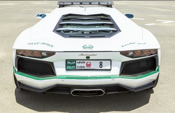 Dubai Police Lamboghini Car with the No. 8 Number Plate