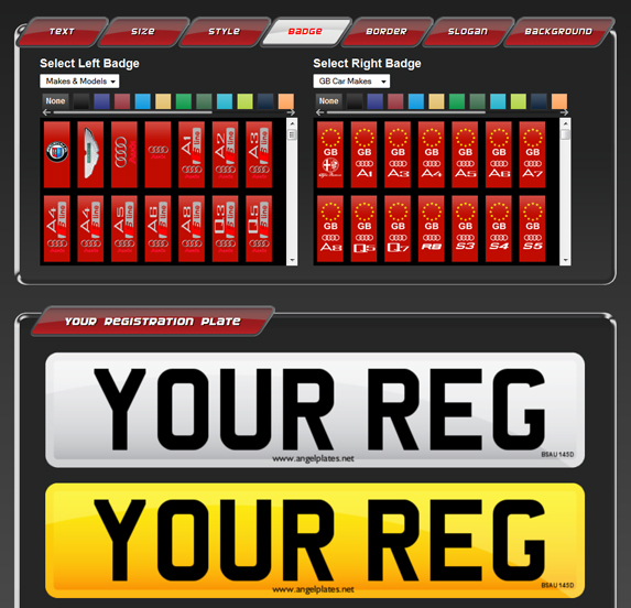 Design your own custom number plates using our number plate builder