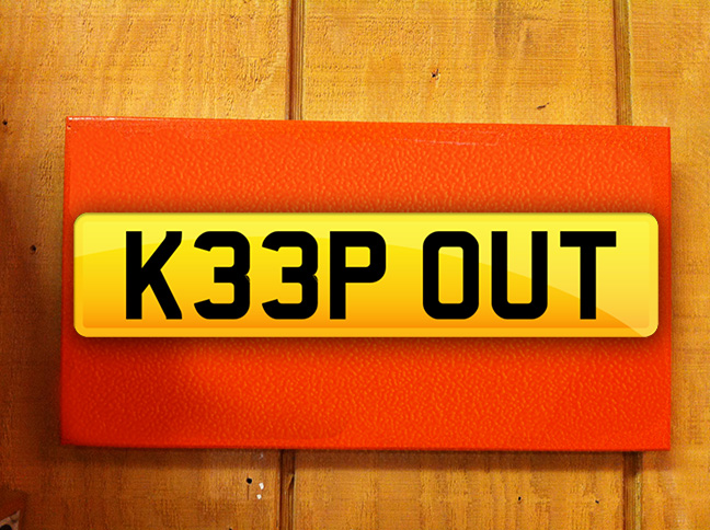 keepout show number plates