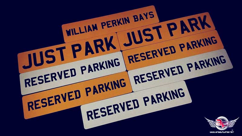 reserved parking show plate signs