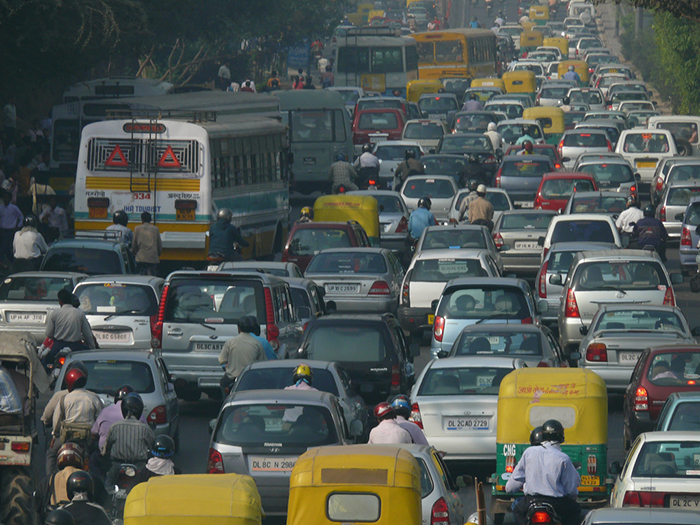 Congested roads in India